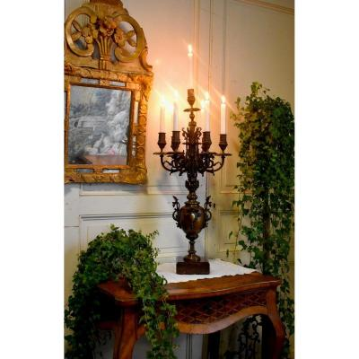 Large Bronze Candlestick, Dragons And Caryatid, Candelabra With Seven Lights, Candlestick, XIXt