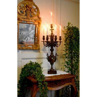 Grand Chandelier En Bronze , Dragons Et Cariatide,   Candélabre à Sept Feux , Bougeoir, XIX ème