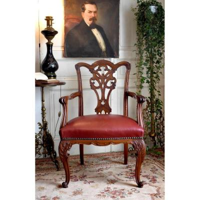 English Office Chair, Chippendale Style, Mahogany And Leather, Late Nineteenth