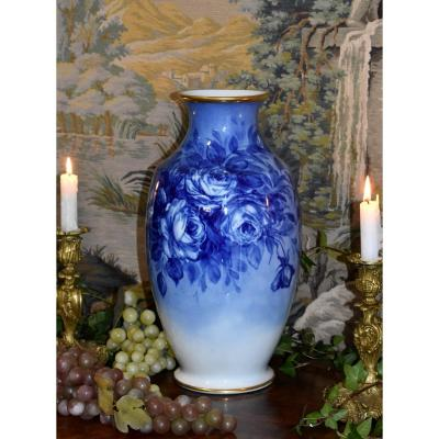 Large Vase Decorated With Roses, Limoges Porcelain, Shades Of Blue Entirely Hand Painted