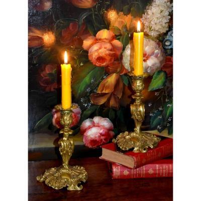 Paire De Bougeoirs Style Rocaille, Louis XV, Bronze Doré, Bouts De Table, XIX ème