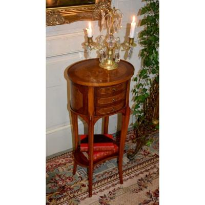 Drum-shaped Bedside Table, Three Drawers, Occasional Furniture, End Of Sofa, Twentieth