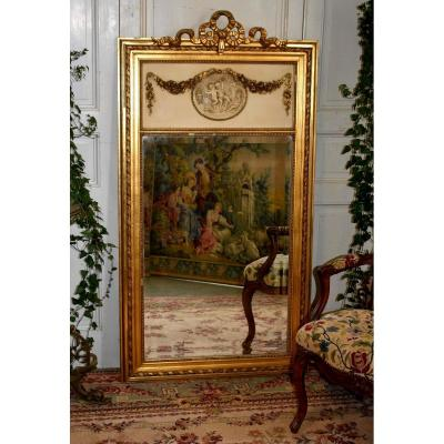 Trumeau Aux Amours, Large Louis XVI Style Mirror, Stucco And Golden Wood, Putti