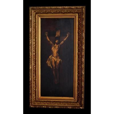 Christ En Croix, Christ Janséniste, d'Après Rubens, Huile Sur Panneau Encadrée, Epoque XIX ème