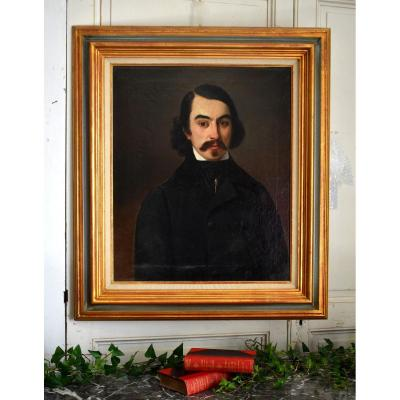 Portrait Of An Elegant Young Man, Oil On Canvas, Circa 1840, Man With A Moustache