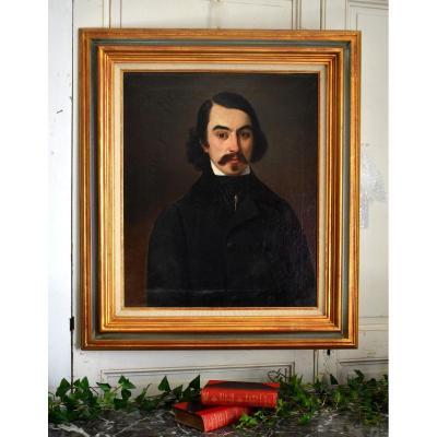 Portrait d'Un Jeune Homme Elégant, Huile Sur Toile, Vers 1840, Homme à La Moustache