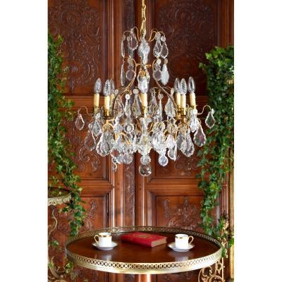 Grand Lustre à Pampilles De Style Louis XV, Laiton Doré Et Cristal, Lustre Cage, Neuf Feux
