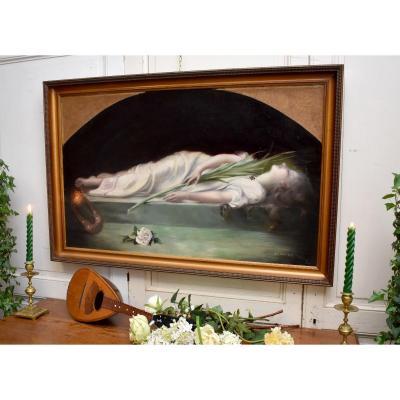 """d'Après Etienne Gautier ( 1842-1903) """"La Mort de Sainte Cécile"""" par Jehanne Bouriquet-Marfeuil , vers 1910"""