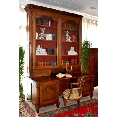Très Grand Bureau Bibliothèque à Portes Grillagées, Bourgogne, Epoque XVIII Eme,  Scriban