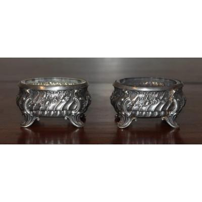 Pair Of Salt And Pepper Shakers In Rocaille Style Silver, Louis XV, Hallmark Minerva