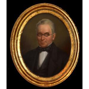 Pastel, Portrait d'Homme Aux Lunettes, Portrait Ovale, Epoque XIX Eme