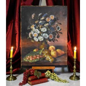 Nature Morte Aux Fruits Et Fleurs d'Automne Sur Entablement, Huile Sur Toile, XIX Eme