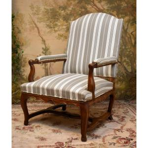 Large Armchair To The Queen, Regency Period, Redone Trim, To Cover, Early 18th Century