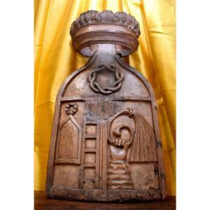 Elément De Boiserie Formant Blason, Panneau De Boiserie à la  Couronne, Enseigne, Bois Sculpté