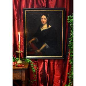 Ecole Flamande ou Hollandaise , Portrait De Femme Au Collier De Perles Et Au Coffret à Bijoux, Début XIX eme
