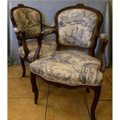 Pair Of Louis XV Cabriolet Armchairs