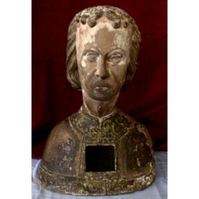 Polychrome Bust Saint Reliquary