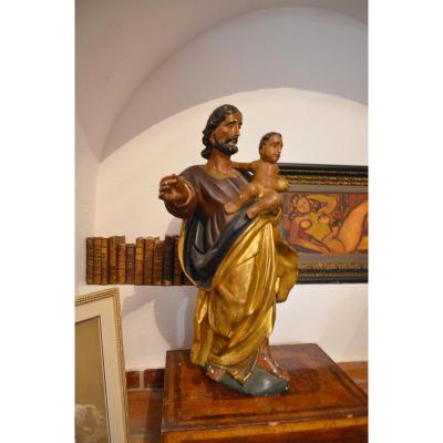 St Joseph De Polychrome Sculpture Wood 18th Century