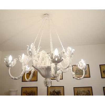 Antique Chandelier Foliage Painted White Iron