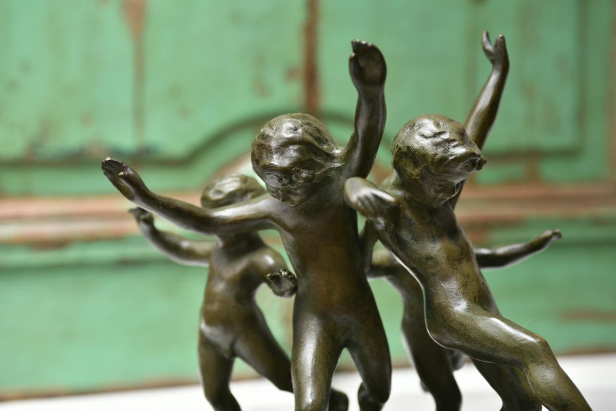 Eugène Canneel. Ronde d'enfants. Bronze patine verte.-photo-3