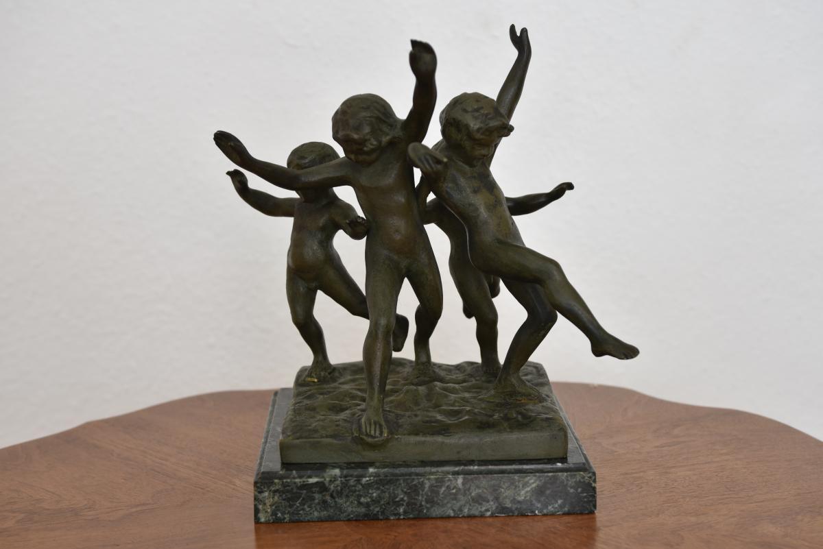 Eugène Canneel. Ronde d'enfants. Bronze patine verte.-photo-4