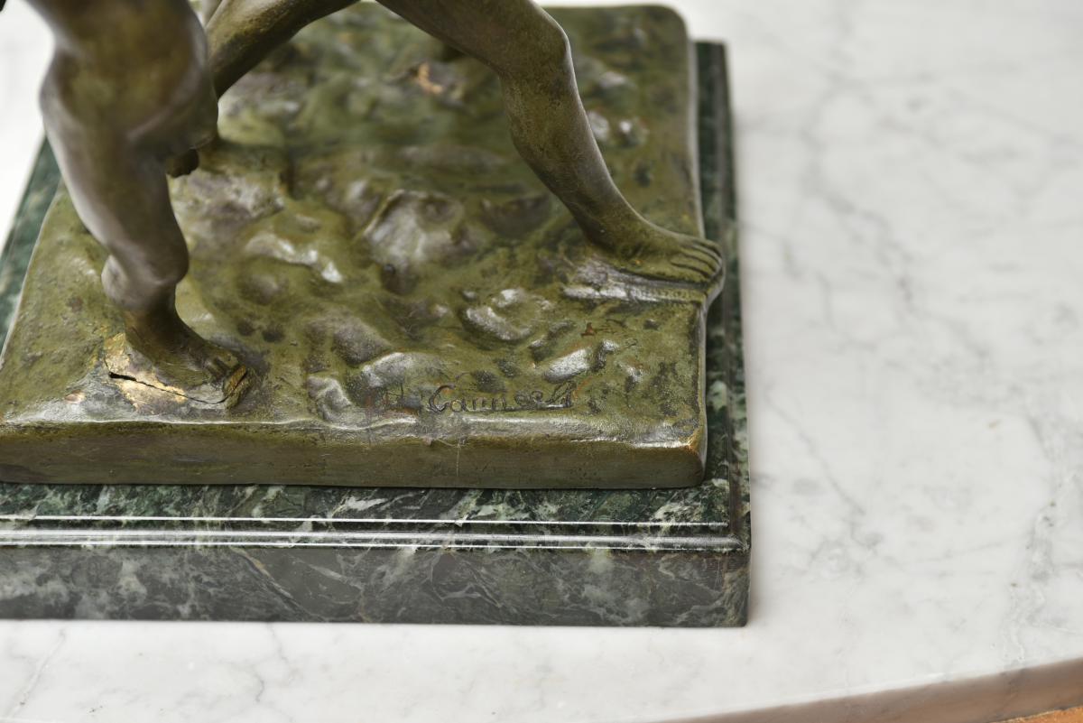 Eugène Canneel. Ronde d'enfants. Bronze patine verte.-photo-2