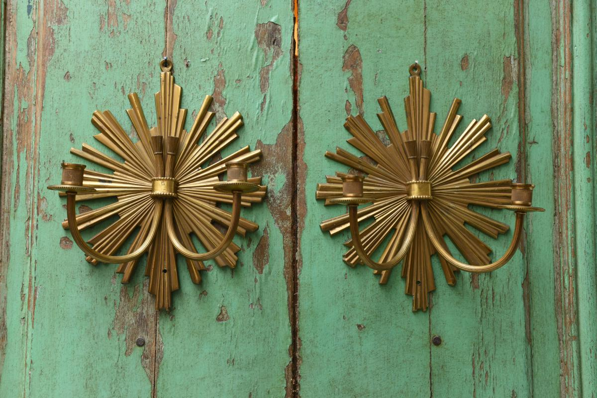 House Charles. Pair Of Appliques. Sun Model.