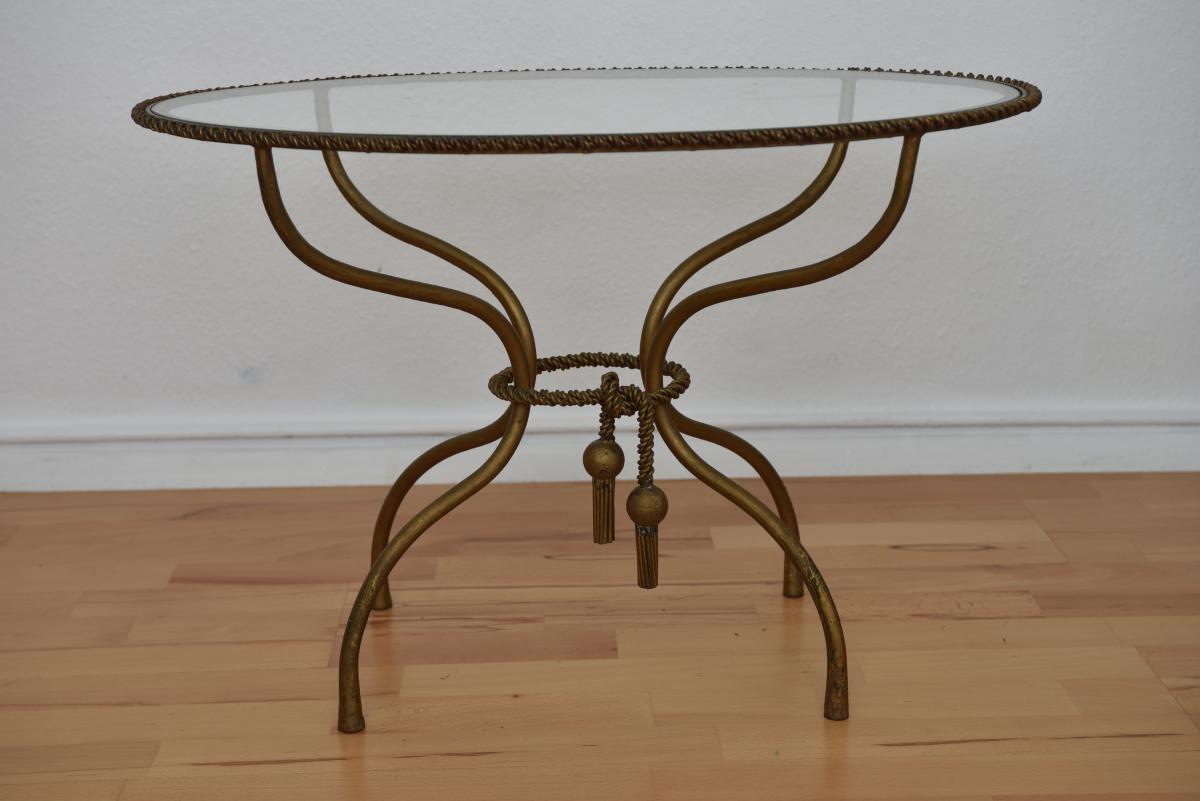 Table Basse En Laiton Doré Torsadé.