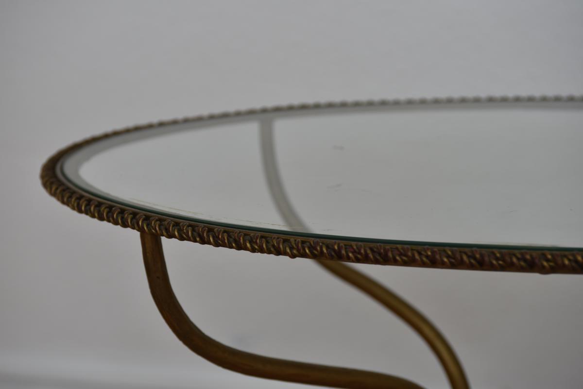 Table Basse En Laiton Doré Torsadé.-photo-3