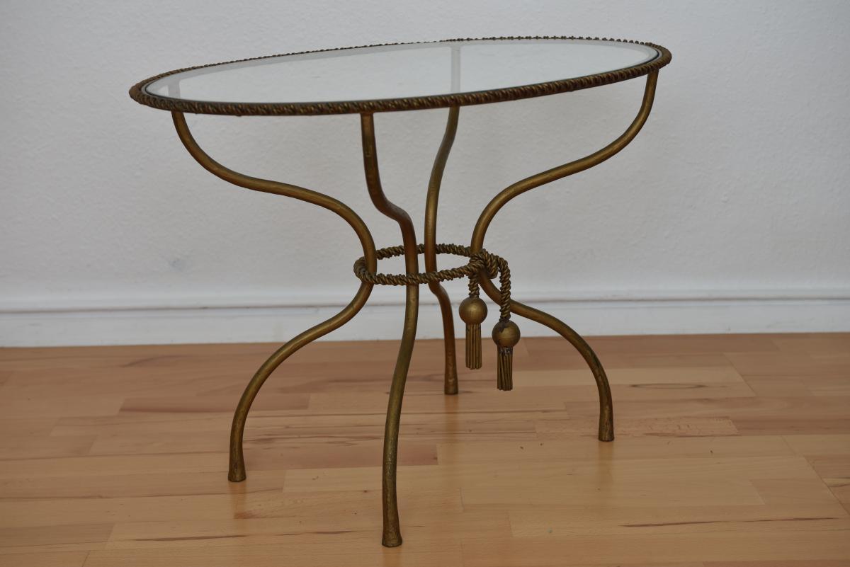 Table Basse En Laiton Doré Torsadé.-photo-4