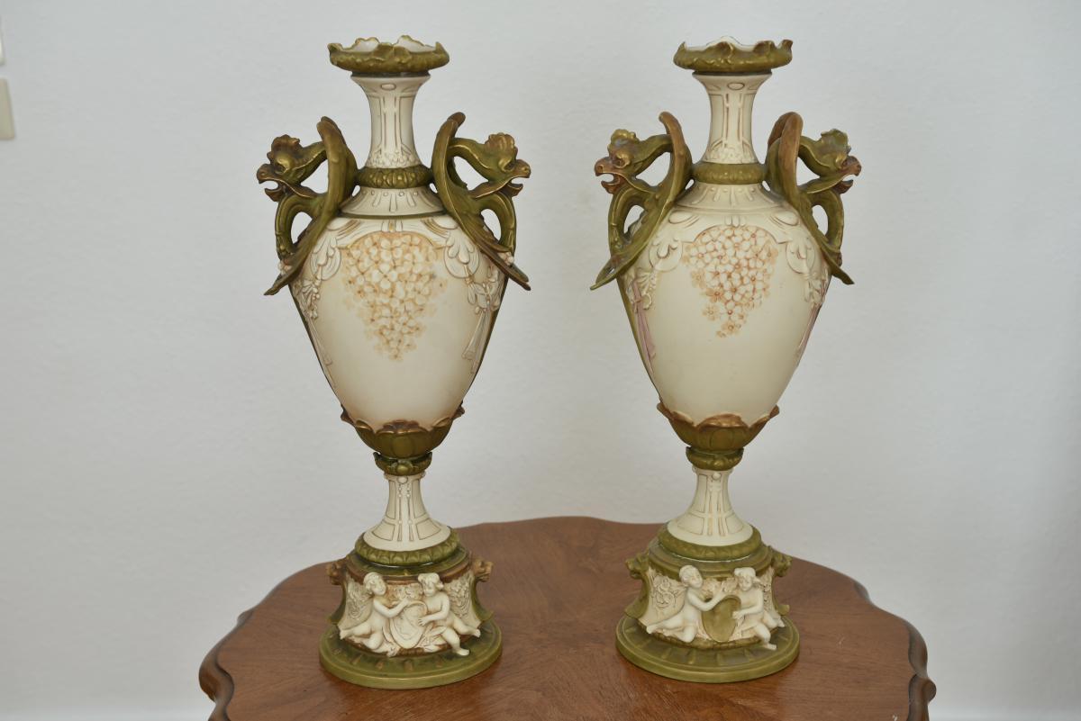Art Nouveau. Paire De Vases Royal Dux. Jugendstil