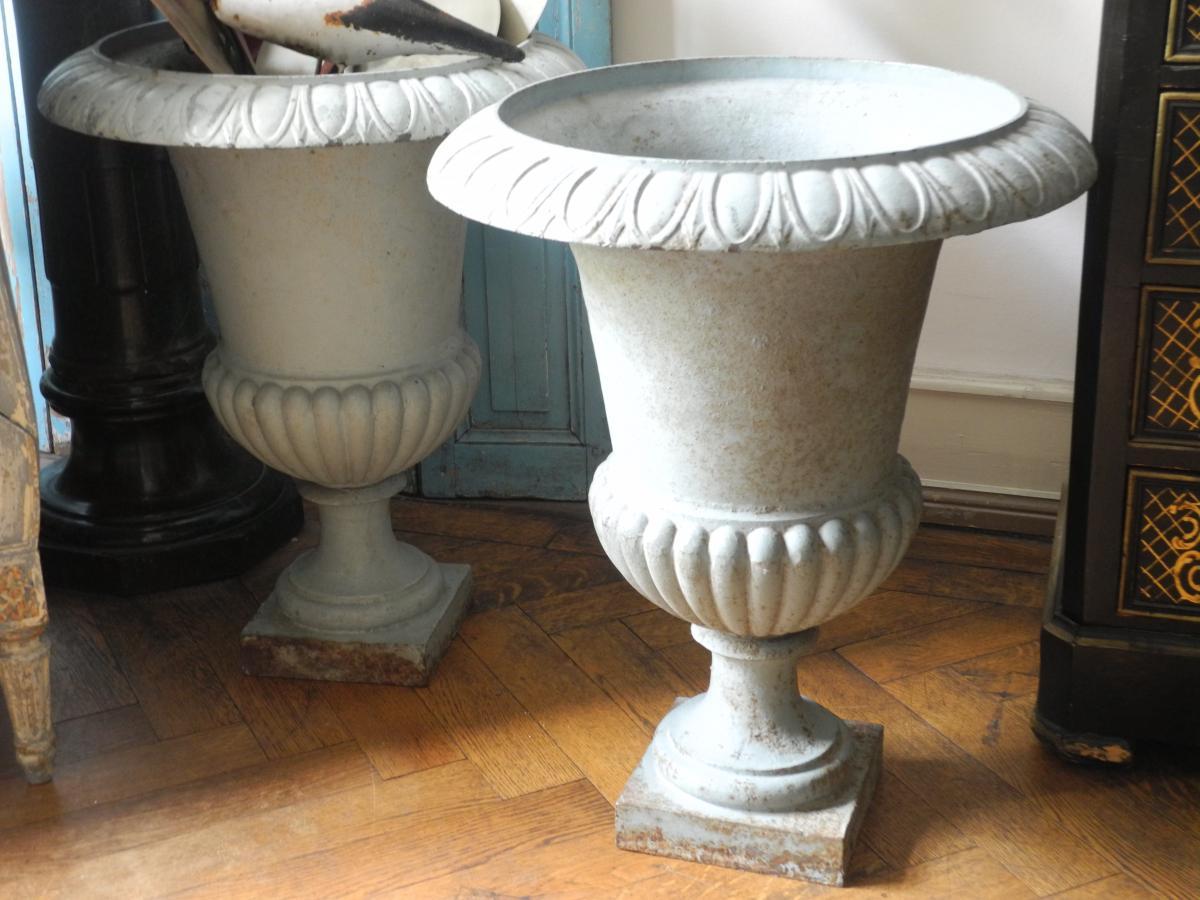 Importantes Vasques De Jardin. Vases Médicis. Napoléon III.-photo-2