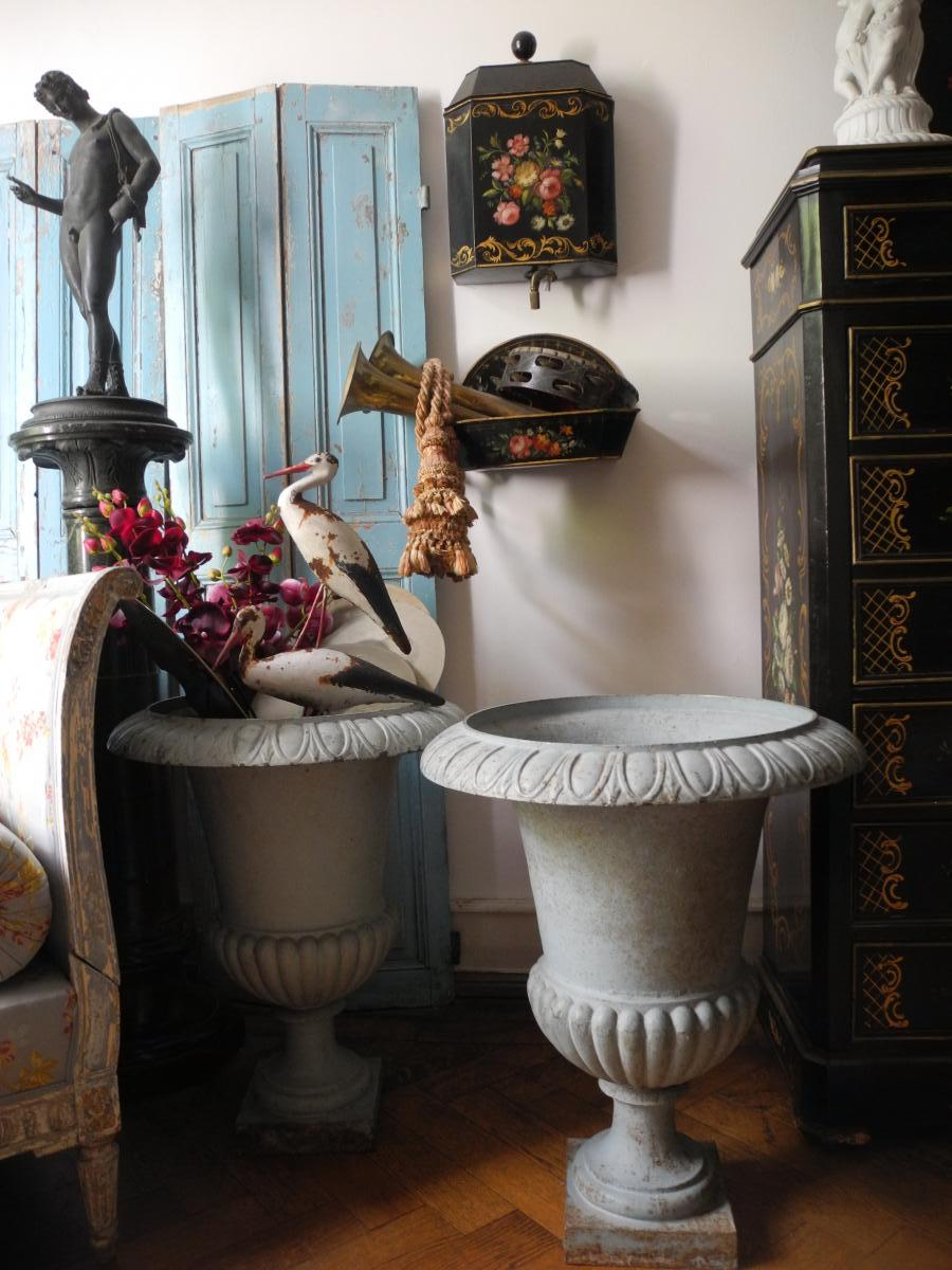 Importantes Vasques De Jardin. Vases Médicis. Napoléon III.-photo-4