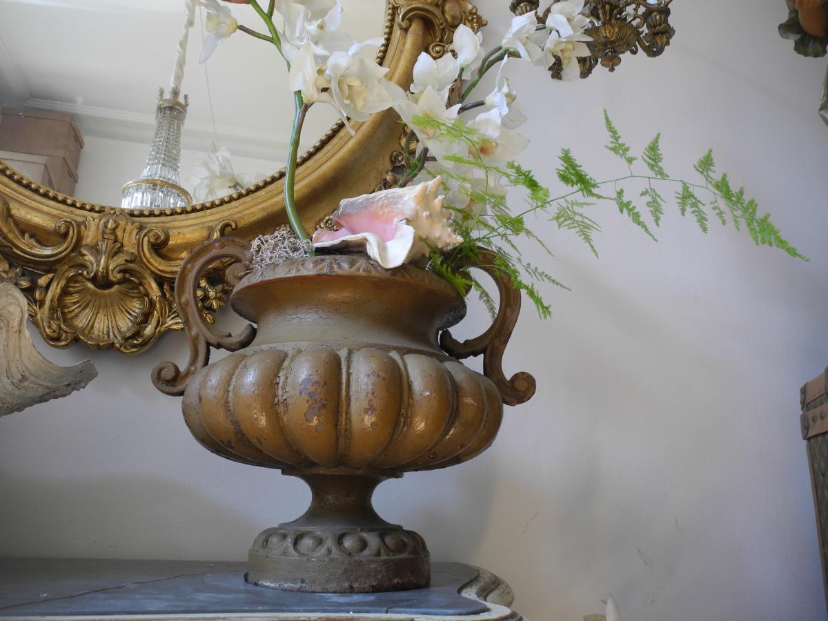 Paire De Vasques De Jardin En Fonte. Napoléon III-photo-2