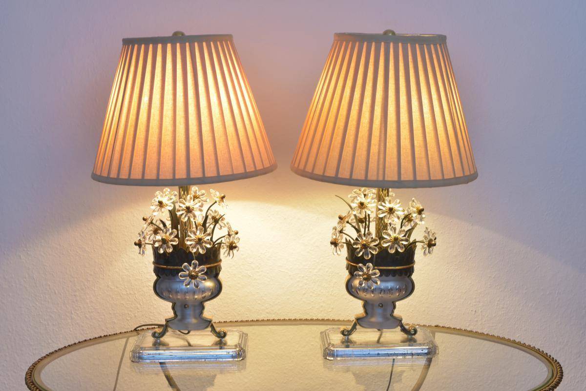 Paire De Lampes. Style Maison Bagues. Années 50-60.