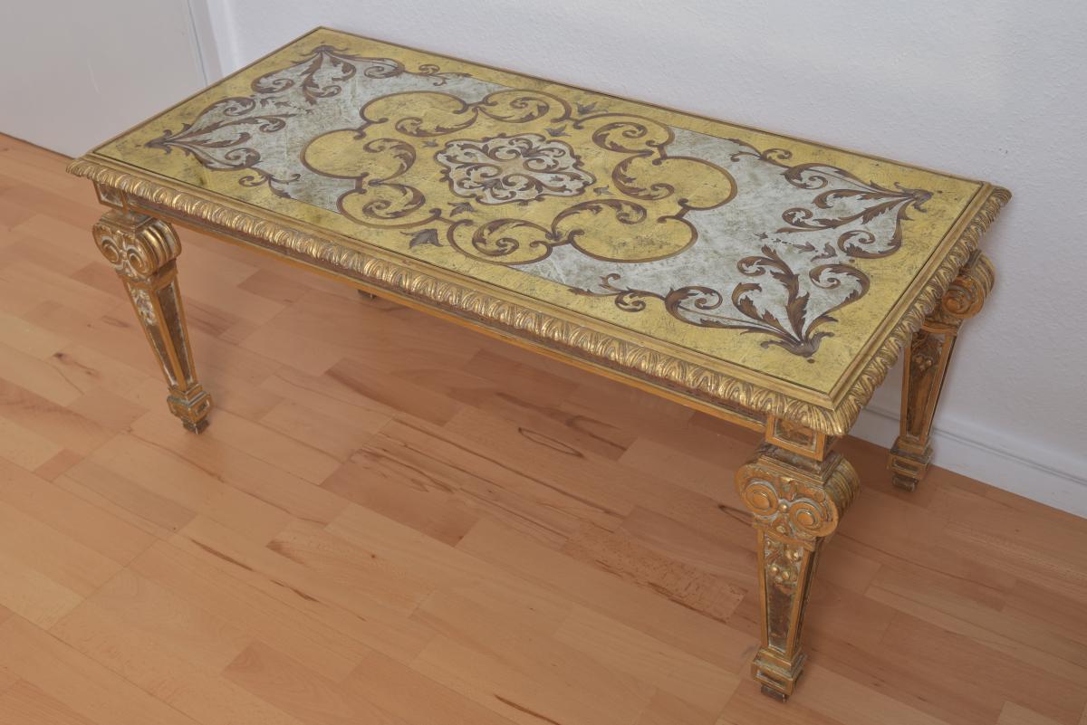 Table Basse En Verre églomisé. Style Maison Jansen.