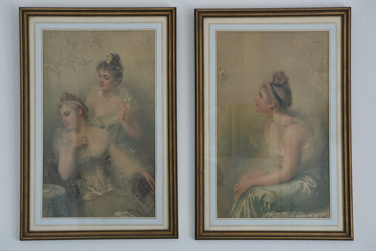 Deux Chromolithographies D ´après Vittorio Matteo Corcos.  Italie 1859 -1933