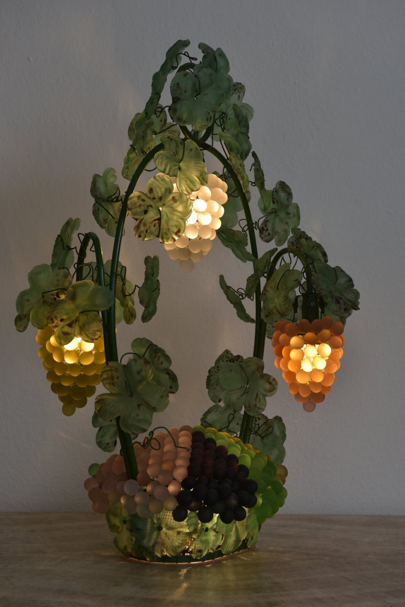 Lampe. Cesare Toso. Corbeille De Raisins. Murano 1970.