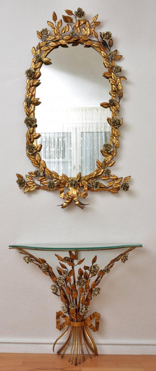 Miroir Italien Et Sa Console En Laiton Doré. Années 50-60.