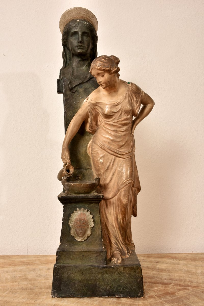 Goldscheider.  Imposante Sculpture Signée E. Tell.  Art Nouveau. 90cm