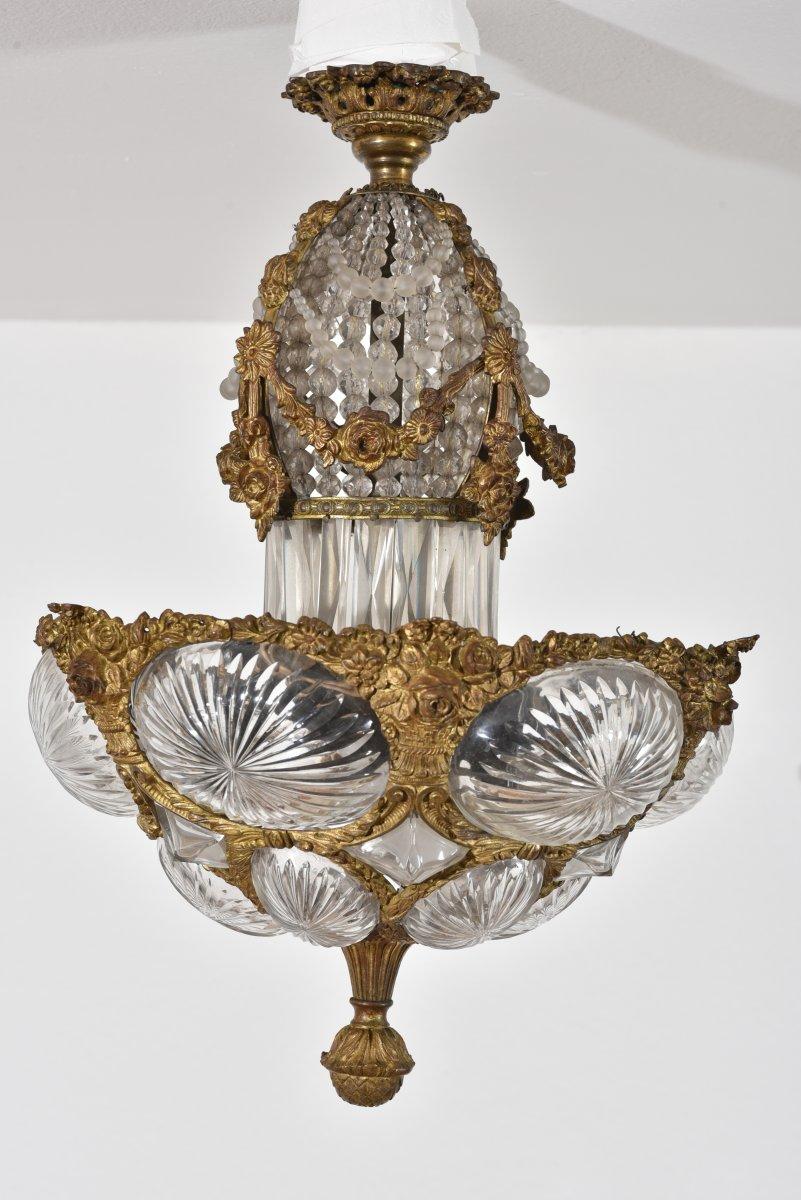 Suspension. Ceiling. Gilt Bronze And Crystal. Napoleon III.