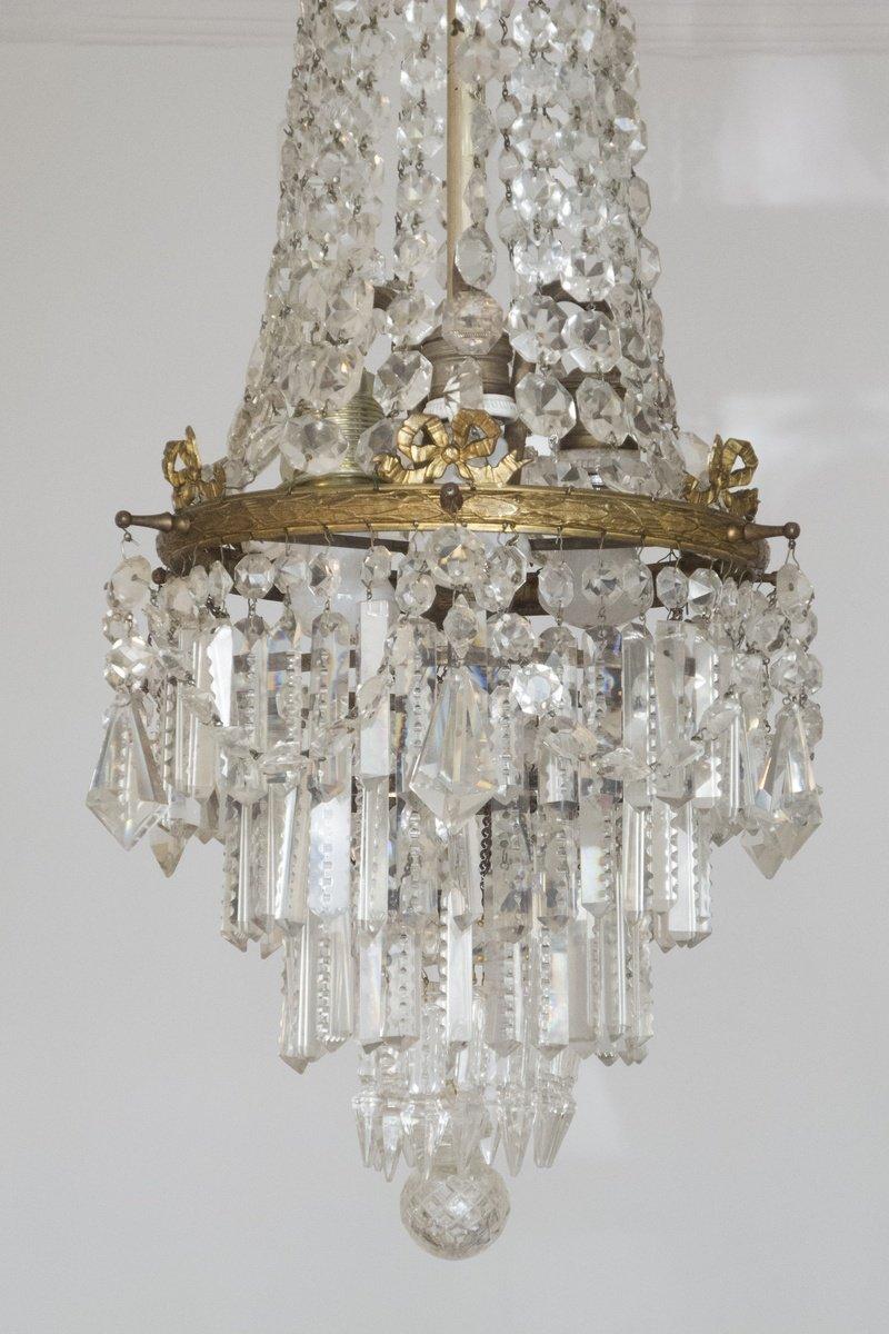 Lustre En Bronze Et Cristal. Chandelier. 1900.-photo-2