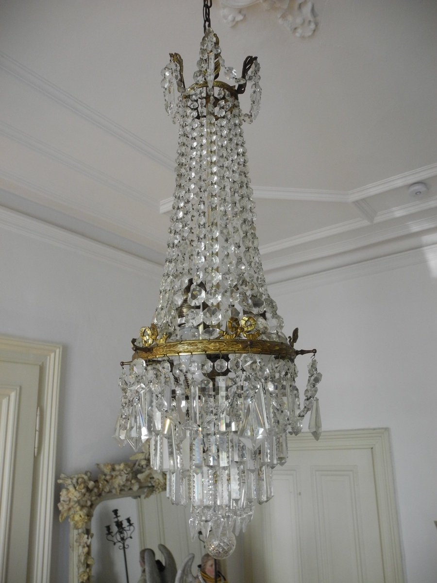 Lustre En Bronze Et Cristal. Chandelier. 1900.-photo-1