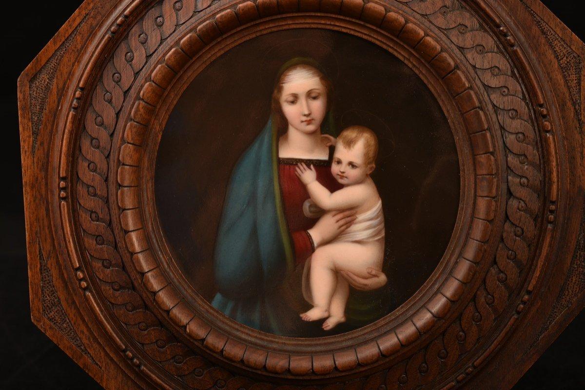 Kpm. Plaque De Porcelaine.  La Madone Du Grand-duc.  XIXème.-photo-1