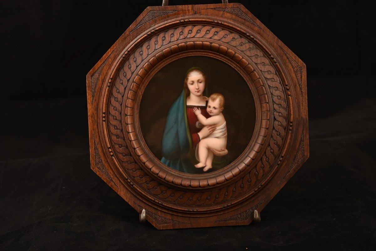 Kpm. Plaque De Porcelaine.  La Madone Du Grand-duc.  XIXème.-photo-3