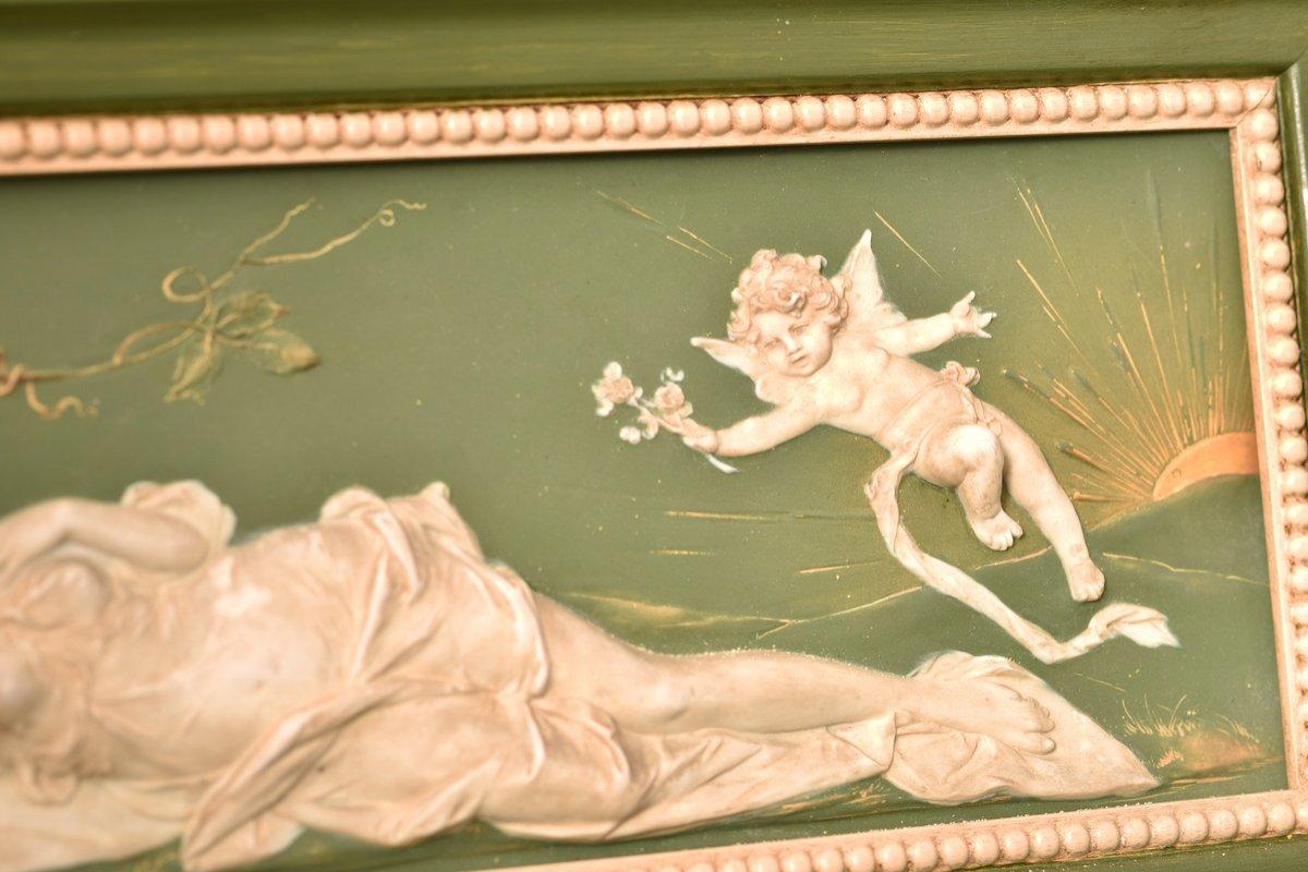 Biscuit Bas Relief. Art Nouveau.-photo-1