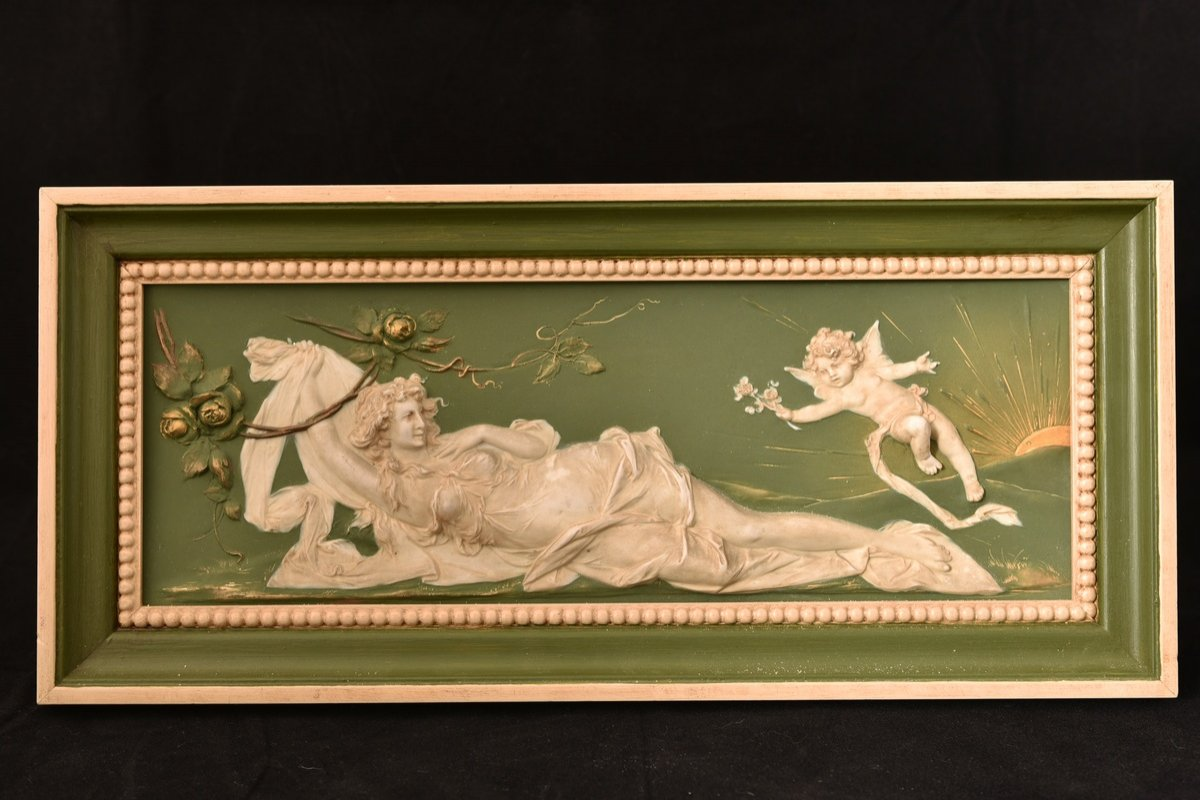 Biscuit Bas Relief. Art Nouveau.-photo-2