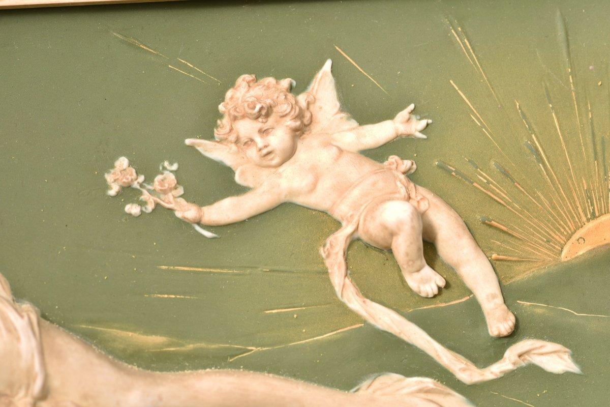 Biscuit Bas Relief. Art Nouveau.-photo-3