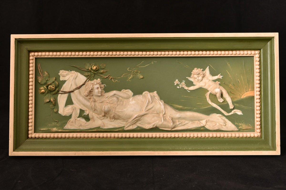 Biscuit Bas Relief. Art Nouveau.
