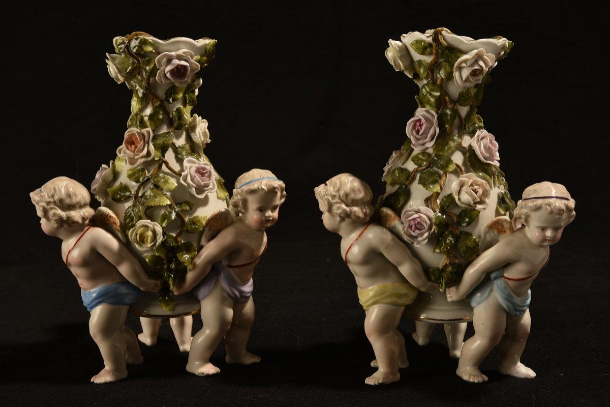 Porcelaine Allemande. Plaue 1890. Paire De Vases